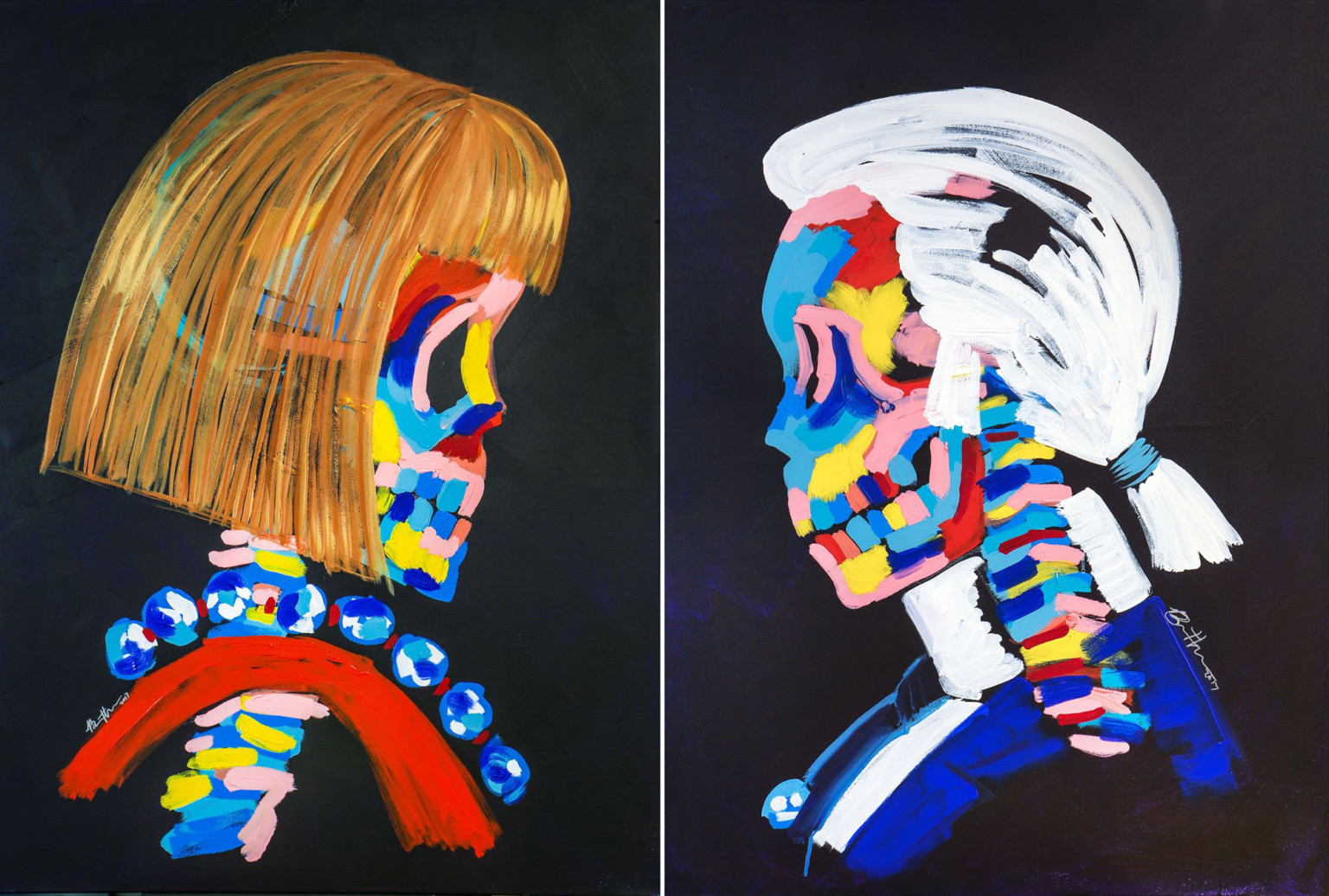 Skeletons of Pop Culture Icons through Colorful Paintings