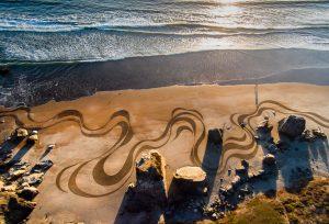 Sand Art on Californian Beaches