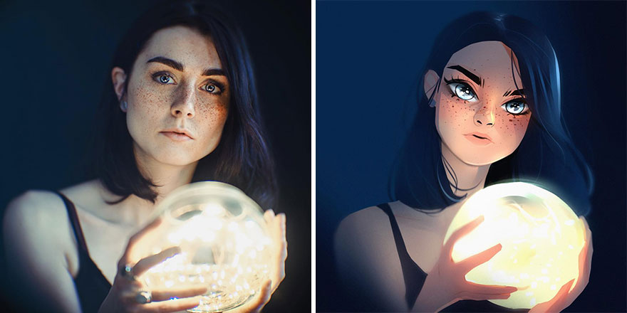 Photographer Asked Artists To Draw Their Portrait Photos